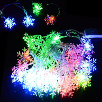 5M 28 L Decoration US Plug Christmas Snowflake String Light Multi-color  GT D_L = 1712873476