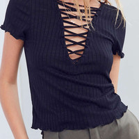 Project Social T Amelia Lace-Up Tee | Urban Outfitters