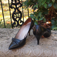 Vintage Shoes Black Leather 50's Mad Men Pumps by Stanley Philipson-Boutique Bootery , Mtn Brook, AL