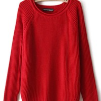 Red Loose Big Size Long Sleeve Sweater,Cheap in Wendybox.com