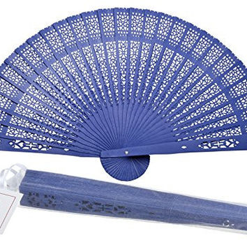 "Quasimoon 8"" Dark Blue Chinese Folding Wood Panel Hand Fan w/ White Organza Bag for Weddings by PaperLanternStore"