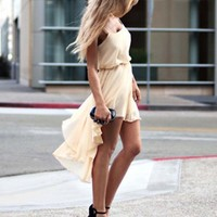 Love Lemon Spaghetti Strap Dip Hem Dress- Love Spaghetti Dresses- Love Dresses- $65.99