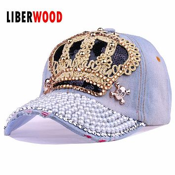 Luxury spring autumn Brand Bling Crown baseball cap snapback Diamond hat cap pearl Sequins denim hats for women high quality