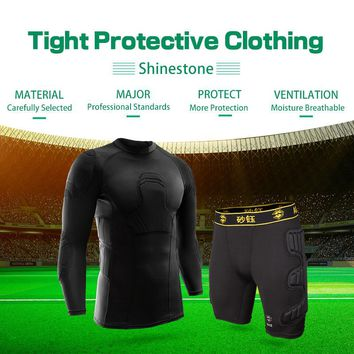 Men's Soccer Tights Protective Long-Sleeved Collision Goalkeeper Jersey Customized Goalkeeper Uniform With Protection