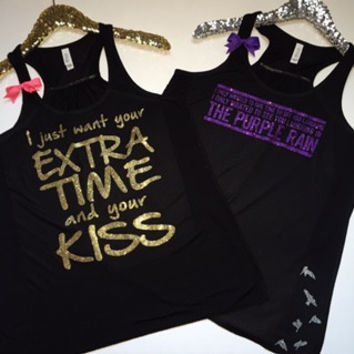 Prince - Tribute Tanks - Ruffles with Love - Racerback Tank - Womens Fitness - Workout Clothing - Workout Shirts with Sayings