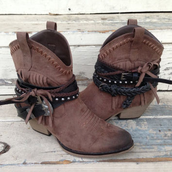 Belted FRINGE western cowboy ankle BOOTS custom made brown 8