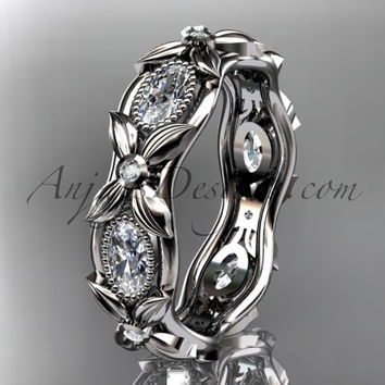 14kt white gold diamond leaf and vine wedding ring, engagement ring. ADLR152. Nature inspired jewelry