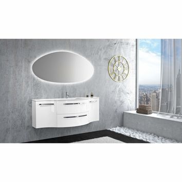 Ambra 57 in. Wall Bathroom Vanity Left and Right Concave Cabinet Set Bath Furniture