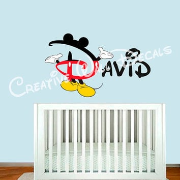 Full color Wall Decal Vinyl Sticker Decals Art Decor Design Disney Custom Baby Name Mice Bow Minnie Mouse Gift Kid Children Nursery (rcol63)
