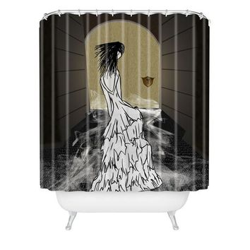 Ghost in the hallway shower curtain