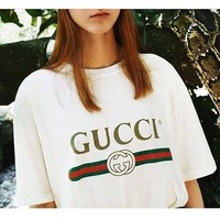 Gucci New Fashion Hot letters print T-shirt top For Black Firday