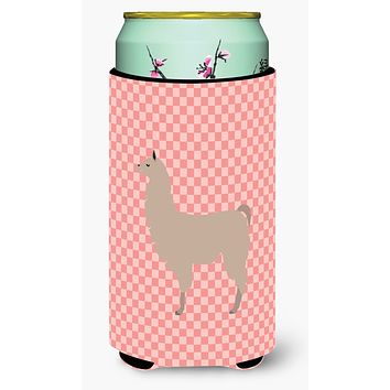 Llama Pink Check Tall Boy Beverage Insulator Hugger BB7916TBC