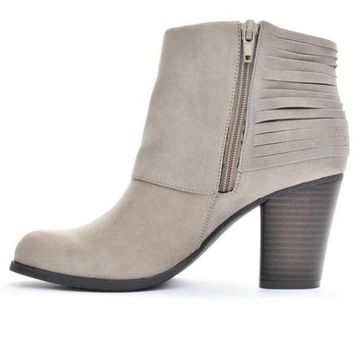 Women's Madden Girl Destroy Booties Taupe | Shoe Carnival