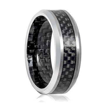 Aydins Mens Tungsten Wedding Band w/ Carbon Fiber Inlay & Inside the Band 8mm Tungsten Carbide Ring