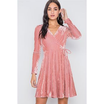 Blush Velvet Fit & Flare Long Sleeve Mini Dress Women's Cute Elegant Dress