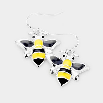 Enamel Metal Honey Bee Earrings