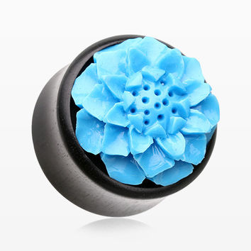 A Pair of Turquoise Resin Lotus Flower Ebony Wood Double Flared Plug