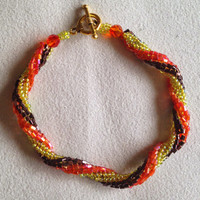 Twisted Herringbone Bracelet, Autumn Colors, For The Simple Taste, Bead Woven