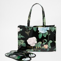 Ted Baker Distinguishing Rose Flip Flop & Shopper Set at asos.com