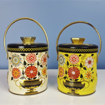 Vintage Murray Allen Tin Pails PORTLAND Pattern Cream Yellow Black Gold Floral Small Tea Tins Sewing Boxes Shelf Decor Shabby Chic Farmhouse