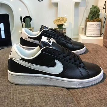 NIKE Tennis Classic Popular Women Men Leather Flat Sport Running Shoe Sneakers Black(White Hook) I-AA-SDDSL-KHZHXMKH