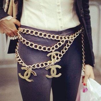 Fashion women Wild skirt Belt chain letters metal chain