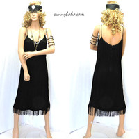 Retro 70s black flapper dress S / M  fringed spaghetti strap dress 20s inspired Gatsby flapper dress shimmy party dress SunnyBohoVintage