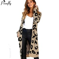 Leopard Print Long Cardigan Ladies 2018 Autumn Fashion Long Knit Sweater Women Large Coat Casual Jacket Winter Clothing
