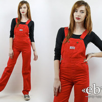 Liberty Overalls 90s Overalls Vintage Overalls Denim Jumpsuit Red Jumpsuit Hipster Overalls Vintage 90s Red Overalls XS S