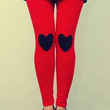 Black heart patched leggings, tights in red