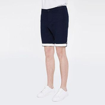 Summer Linen Shorts Men Loose Casual Summer Beach Shorts Male Navy Blue Breathable Cotton Shorts