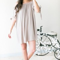 It's Complicated Off The Shoulder Short Sleeve Dress - Taupe