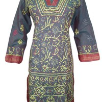 Boho Indian Kurta Grey Tunic Floral Embroidered Cotton Kurti Dress X-small