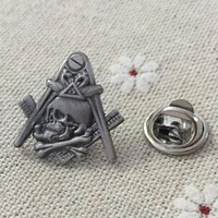 Skull and Crossbones Widow's Son Square and Compass Masonic Lapel Pin