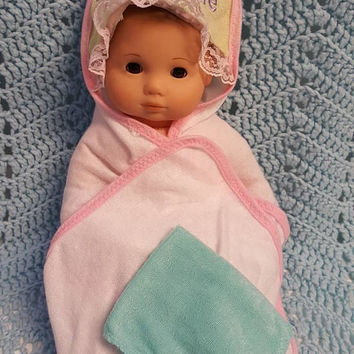 "Baby doll bath towel set made to fit Bitty Baby® or up to 15 inch doll ""Dream Come True"" P1"