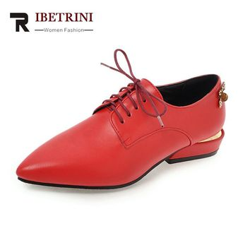 RIBETRINI Women's Low Heels Pointed Toe Lace Up Casual Dress Spring Autumn Shoes Woman Oxfords Big Size 34-43