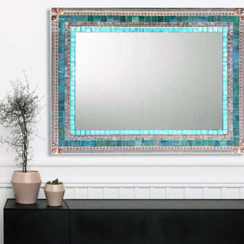 Large Wall Mirror, Mosaic Mirror, Aqua Gray Copper, Bathroom Decor, Mirror For Vanity