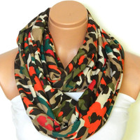 Cotton fabric Scarves,Camouflage Infinity Scarves,Loop Scarf,Circle Scarf, Camouflage..army orange and green..Nomad Tube...