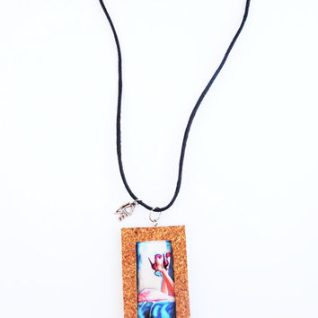 Romance Necklace Pendant Laminated Illustration Cork Frame Handmade Jewelry