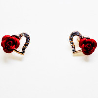 ltalina rigant top quality 18k gold plated rose flower heart shape with small zircon for girls