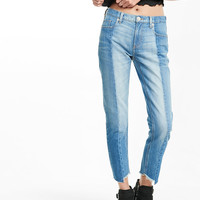 pieced raw hem rigid girlfriend jeans