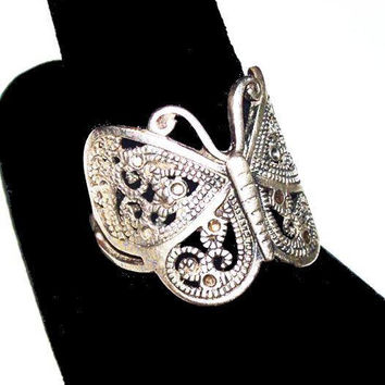 Butterfly Ring 925 Sterling Silver Marcasites Middle Finger Sz 10 Vintage