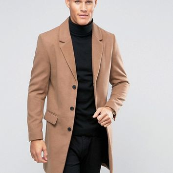River Island Overcoat In Camel at asos.com