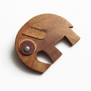Wooden brooch, elephant brooch, brooch, cherry wood, lucky brooch, brooches, gift