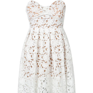 White Crochet Lace Spaghetti Strap Skater Dress