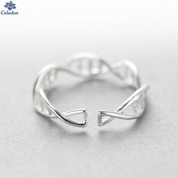 Fashion 925 Sterling Silver Dna Double Helix Structure Open Rings For Women Original Handmade Girl Sterling-silver-jewelry