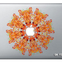 Orange snow flowerl macbook decal/Macbook Pro, Air,Ipad decal/Stickers/Macbook Decals/Apple Decal for Macbook Pro / Macbook Air/laptop 086