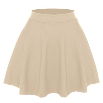 Womens Basic Stretchy Flared Skater Skirt
