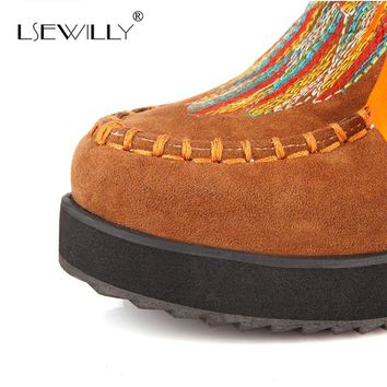 Lsewilly  Indian  Style  Retro  Fringe  Boots  Flock
