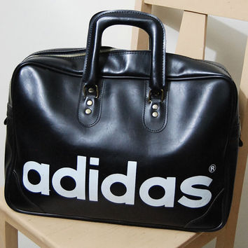 70s Vintage ADIDAS Bag Large Sports Bag Athletic Old School Adidas Gym Bag Black Vinyl Overnight Big Bag 1970s vtg